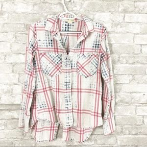 Anthropologie Cloth & Stone Plaid Button Down Top